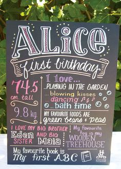 Totally want to make a sign like this for Chloe! Sunshine & Lollipops First Birthday Party