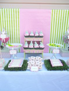 The Candy Buffet Company Montreal  pink, green frog themed candy buffet and baby shower.   baby shower decor, umbrellas, custom baby food jar labels.