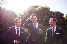 White shirts, polka dot ties and pocket squares for these lads | Suits from M.J. Bale | Location: Bendooley Estate, Southern Highlands | Photo Credit: Michelle Fiona Photographer