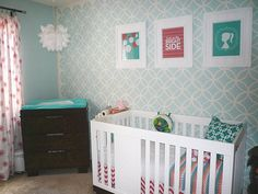 Moroccan modern design in a sweet nursery. Endless Circles Lattice Stencil from Royal Design Studio.
