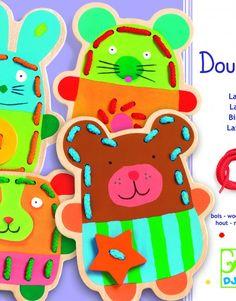 DJ01680B Animales de madera para coser 6 piezas + 4 cordones-22,50€