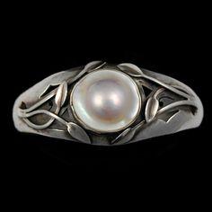 Arts & Crafts Sterling Silver Blister Pearl Bracelet