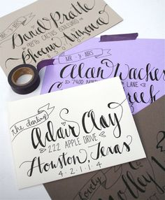 Hand-Addressed Wedding Invitation Inspiration~ Deliciously Love these beautifully addressed envelopes by Maxwell. Envelope Lettering, Calligraphy Envelope, Envelope Art, Envelope Design, Calligraphy Letters, Typography Letters, Typography Poster, Wedding Hands, Addressing Envelopes