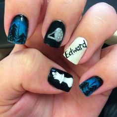 Breaking Dawn nails!!!  Edwards hand!! With Bella's ring <3