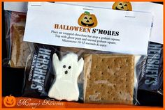 Halloween Ghost Peep Smores. Great idea for class gifts! #Recipe #hair #food #DIY