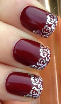 Buyinhouse Fashion Deign Nail Art WRAP WATER TRANSFER DECALS STUNNING SILVER ROSES/FLOWERS NAIL TIPS