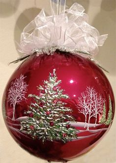 "5"" Hand painted burgundy glass ornament with quality Swarovski crystals by Mickey Baxter-Spade."