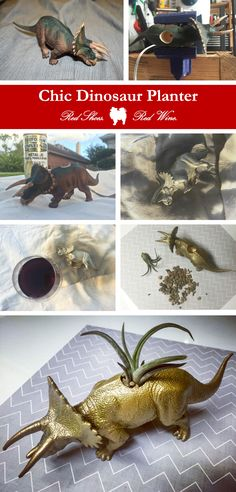 Chic DIY Dinosaur Planter #wineandcrafts #crafts #crafty #pinspired #dinosaur #paint #diy #goldpaint #blogger #diyblogger #houstonblogger #redshoesredwine #blog #upontheblog #diy #pinspired #happyhome #newpost #gold #chic #gilded #triceratops