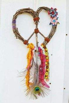 A peace-sign / heart dream catcher