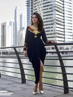 WOMEN STYLISH ETHNIC HANDMADE GEORGETTE KURTI KAFTAN TUNIC DRESS WESTERN TOP  #Handmade #Casual