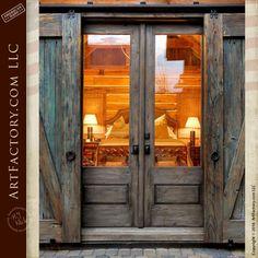 Ana Rosa / cabin retreat / log homes / different perspective. LOVE the doors & barn door protector. Door Design, House Design, Window Design, The Doors, Wood Doors, Sliding Doors, Timber Door, Log Homes, Cabin Homes