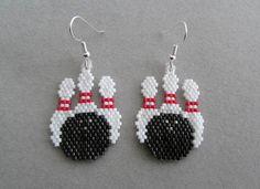 Beaded Bowling Earrings by DsBeadedCrochetedEtc on Etsy