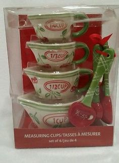 PIER 1 IMPORTS SET OF 4 MEASURING CUPS CHERRIES AND MEASURING SPOONS