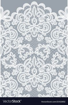 Seamless gray lace vector image on VectorStock Lace Background, Background Patterns, Blue Nose Friends, Color Games, Paper Lace, Lace Tattoo, Border Pattern, Gold Embroidery, Floral Border