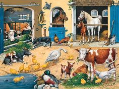 Ravensburger Farm Life - 24 Piece Floor Puzzle >>> Check out this great product. Cross Paintings, Easy Paintings, Farm Quilt, Toy Barn, Farm Toys, Floor Puzzle, Wall Decor Pictures, Cute Animal Drawings, 5d Diamond Painting