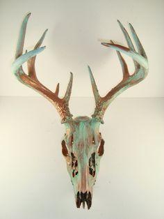 Copper Natural Patina Deer Skull Antlers Art by MayaJadeCreations