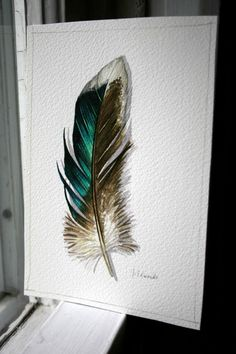 Mallard Feather watercolour study - $40. She really captured the iridescence in this one!