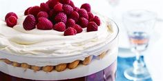 Raspberry and White Chocolate Trifle recipe by Chef Donna Hay. This recipe is from the show a donna hay christmas. Trifle Desserts, Just Desserts, Delicious Desserts, Dessert Recipes, Christmas Recipes, Lunch Recipes, Yummy Food, Christmas Trifle, Christmas Desserts
