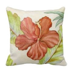 Hibiscus Flower Throw Pillow *New inventory added to site, visit www.prettythrowpillows.com to see all of our tropical throw pillows