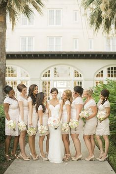 Bridesmaids in #lace | Great Gatsby Inspired Galveston Wedding