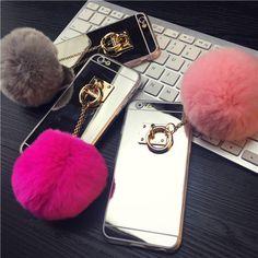 Para iphone 6 6 s 7 más 5 5S sí cajas del teléfono de moda de lujo cuerda de metal espejo tpu caso lindo conejo bola de la piel cubierta para iphone 6