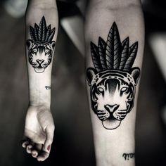 Arm Dotwork Tiger Tattoo by Kamil Czapiga