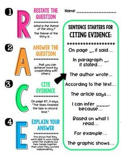 003 R.A.C.E. Response to Text Strategy FREE Printables