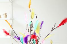 Finnish tradition: feathers on pussy willow branches.