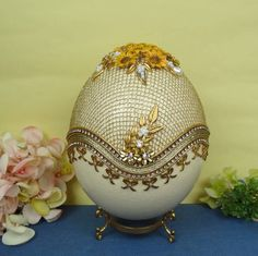 Decorated Egg, Real Ostrich Egg, Egg Jewelry Box, Swarovski Rhinestones and Pearls decoration, Christmas gift ideas for friends by HandmadeloverStore on Etsy https://www.etsy.com/hk-en/listing/562403710/decorated-egg-real-ostrich-egg-egg