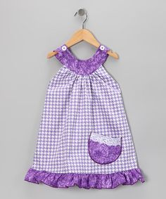 Take a look at this Houndstooth & Lavender Trapeze Dress - Toddler & Girls by Beary Basics on #zulily today!