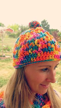 Colorful Neon Beanie crochet Hat by Mishulka on Etsy, $18.00