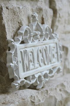 Welcome Sign Cast Iron Shabby Chic White by FourRDesigns on Etsy