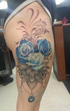Mandala with Blue Roses by Brandon Smith @Motor City Tattoos in Oshawa, Ontario, Canada. : tattoos