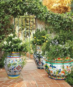 Italian Inspired Painted Planters | Frontgate: Live Beautifully Outdoors