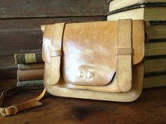 Vintage Rustic Sienna Brown Leather Small by JansVintageStuff