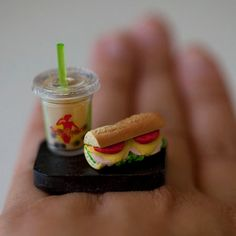 Kawaii Cute Miniature Food Ring  Milk Bubble by fingerfooddelight, $10.00