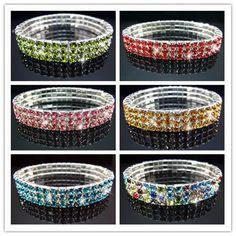 Free Lot VEGAS Many color Rhinestone STRETCH BANGLE BRACELET 3ROW Bridal Jewelry