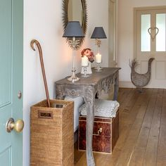 Country hallway with elegant console table