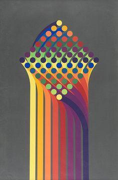 Julio LE PARC (1928)16 Couleurs.Sérigraphie. Numérotée 174/200.Signée en bas à droite.100 x 64 cm.