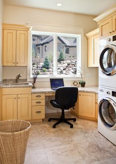 I like the idea of a laundry room/ office combo. A nice way to conserve space.