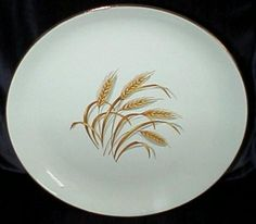 Golden Wheat by Homer Laughlin China Description: Marked Alliance, Ohio Golden Wheat was distributed in Duz detergent in the as a promotion. You could eventually get the whole set of dishes and the glassware, too. I have a cup and saucer in my collection. Vintage Dishware, Vintage Dinnerware, Vintage Dishes, Vintage China, Vintage Love, Vintage Items, Antique Dishes, Antique Glassware, Homer Laughlin