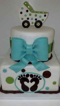 Chic baby shower cake (1192) by Asweetdesign, via Flickr