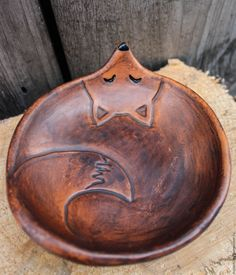 Купить Лисорелка - коричневый, Керамика, глина, керамическая, глиняная, посуда, тарелка, ручной работы