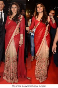 Bollywood Style Kajol Chiffon and Net Designer Saree In Red and Beige Colour Red and Beige Colour Chiffon and Net Fabric Designer Bollywood Saree Comes With Matching Blouse Which Can Be Stitche. Kajol Saree, Bollywood Saree, Bollywood Fashion, Chiffon Saree, Saree Dress, Saree Blouse, Indian Beauty Saree, Indian Sarees, Indian Dresses