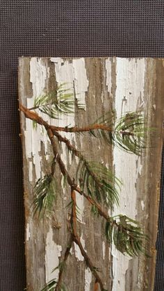 Hand painted Christmas decoration, GIFTS UNDER 25, Hand painted Pine Branch, home.,  Reclaimed barnwood, Pallet art, Christmas decorations