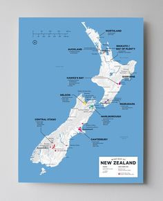 Wine map of New Zealand.  Find out where New Zealand's best #PinotNoir #SauvignonBlanc #Chardonnay #Riesling and #PinotGris grows.