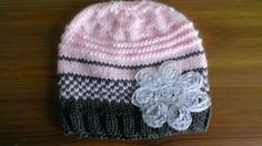 Little Girl's Pink Hat Knitted Baby Hat Shabby by UniqueKnitDesign