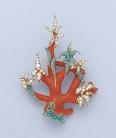 A CORAL, TURQUOISE AND DIAMOND BROOCH, BY STERLE  Designed as a foliate branch, the turquoise and diamond-set stylised leaves to the coral branches, circa 1965, 8.6 cm. high, with French assay mark for gold