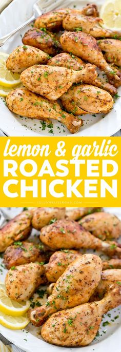 It doesn't get much easier than these savory Lemon Garlic Roasted Chicken Drumsticks. They are full of lemon and herb flavor and practically fall off the bone tender and juicy. via @yellowblissroad