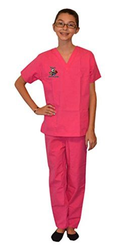 Pink Kids Scrubs with Veterinarian Animals Embroidery Design, Size 8/10 ** Learn more by visiting the image link.